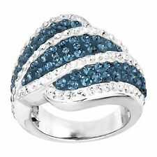Blue & White Wave Ring with Crystals in Rhodium-Plated Bronze