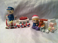 1997 collectible 2 Precious Moments Tea Light Candle Holders Christmas Scene