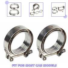 """Stainless Steel 2pcs for Turbo Exhaust Downpipes 2.5"""" V-Band Flange & Clamp Kit"""