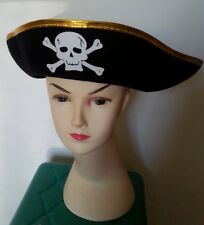 Skull Crossbones Caption Pirate Hat Party Halloween Costume