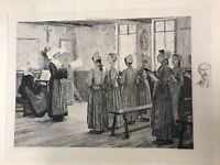 The Singing Lesson Etching By Charles-Alphonse Deblois Chicago Columbian Expo