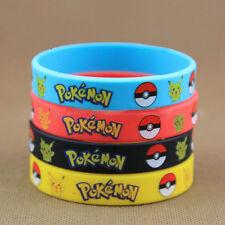 4PC Silicone Rubber Pokemon Go Pikach Wristband Silicone Bracelet Party Bangle