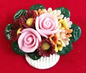 Brooch Polymer Clay Handmade Pin Handcrafted Fashion Flower Jewelry Flowers Vase