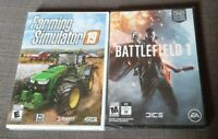 Lot 2 PC Games: Farming Simulator 19 and Battlefield 1 BRAND NEW FACTORY SEALED
