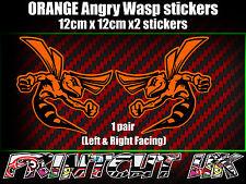 Pair of Orange Angry Wasp Stickers laptop helmet bike car scooter vespa hornet