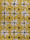 Vtg Vera Burlington 70's White Yellow Black Daisy King Flat Sheet Fabric Flaws