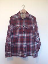 North Coast Men's Shirt M&S Size M Plaid Checked Shirt Blue Red Medium Long