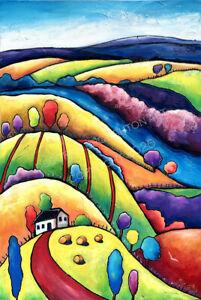 DEBORAH BROUGHTON ART Original Oil Painting Rural Quilt Landscape Country fields