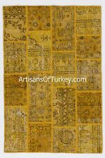 YELLOW Turkish PATCHWORK Rug, Made of Overdyed Vintage Handmade Turkish Carpets