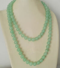 AAA Fashion Women's 10mm Natural Jade Gemstone Round Beads Long Necklace 48''