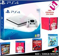 VIDEOCONSOLA SONY PS4 PLAYSTATION 4 500GB BLANCA FIFA 2020 GTA FORNITE SPIDERMAN