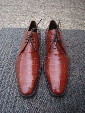 Incredible, Must Own Laudino Caccin Cognac Premium Alligator Skin Shoe----ITALY