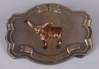 Longhorn Steer Belt Buckle, Brass, Western, Cowboy Buckle, Enamel