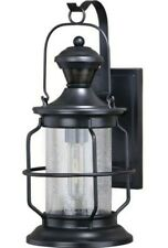 Large Cage Lantern Dualux Black Outdoor Motion Dusk to Dawn Security Wall Light