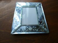 Bilderrahmen Kristal Spiegel Facetten floral A5 zum Aufstellen Bild: 8 X 12 cm