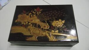 ANTIQUE JAPANESE LACQUERED WRITING SLOPE STATIONARY BOX GILT ca 1880 Peacock
