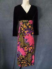 60's Vintage Petites Siro Black Velvet Psychedelic Hot Pink Floral Maxi Dress XS