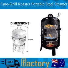 Genuine Euro-Grille 4 In 1 BBQ Grill Roaster Portable Steel Steamer Charcoal