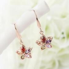 Sweet Multicolored Crystal Zircon Floral Dangle Drop Earring Girls Jewelry