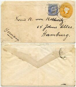 BURMA QV STATIONERY INDIA UPRATED KE7 1909 to GERMANY BOMBAY ADEN SEA P.O TPO