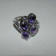 Carolyn Pollack Amethyst Cluster Sterling Silver Ring Size 6