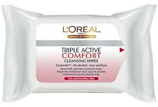 L'OREAL TRIPLE ACTIVE COMFORT CLEANSING NO ALCOHOL 25 FACE WIPES **BRAND NEW**
