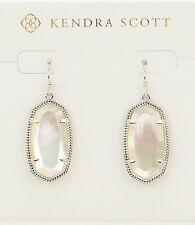 Kendra Scott Dani Oval Dangle Earrings in Ivory and Rhodium Plated