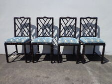 Dining Chairs Chinese Chippendale Faux Bamboo Boho Chic Hollywood Regency Rattan