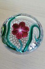 Glass Eye Studio Paperweight 'Magenta Flower' Purple Green Clear White Bubble