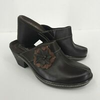 Clarks Bendables Women's Brown Leather Flower Slide On Clogs Size 6M