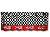Custom Coca Cola Coke Red Fabric Blackout Valance 14x42 Chef Curtain Checkered