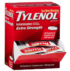 TYLENOL Extra Strength Pain - Fever Reducer Caplets, 50 PACKS OF 2 TABLETS EACH