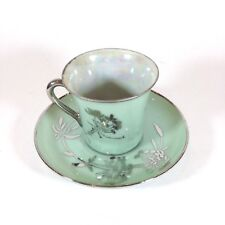 Lusterware Demitasse Cup Saucer Espresso Green Silver Trim Made in Japan