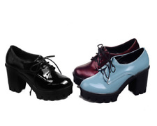 Womens Patent Leather Platform Heels Oxfords Pumps Lace Up Retro Shoes Classics