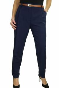 Ladies Smart Soft City Front Pleated Trousers Tapered Leg Navy Blue Size 8-22