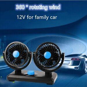 12 Volt Electric Auto Car Van Cooling Fan Dashboard Air Con Cooler Dual Head 12V