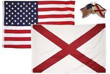 Wholesale Combo Usa & Alabama State 3x5 3'x5' Flag & Friendship Lapel Pin