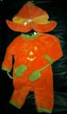 Halloween pumpkin fleece one piece with hat and attached mittens 9 months.