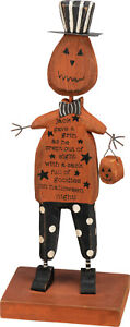 Chunky Wood Pumpkin Givea Grin HALLOWEEN Jack o Lantern Primitive Figurine Decor