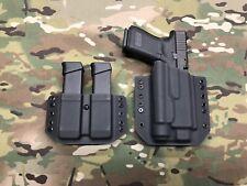 Black Kydex Holster for Glock 19 GEN 5 Streamlight TLR-1 & Dual Mag Carrier
