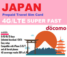 Travel to Japan? 8 days unlimited download data Prepaid SIM NTT Docomo network
