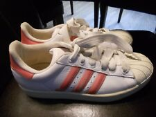 Vintage Women's ADIDAS Pink Hologram Stripes with Shell Toe Size 9 Very Nice