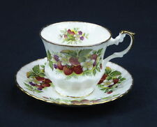 Rosina China Queens Cup and Saucer Footed England Bone China Strawberries Berry