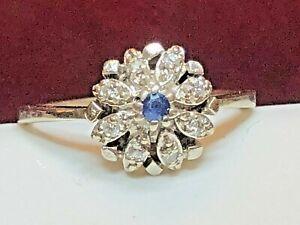 ANTIQUE ESTATE 14K GOLD WHITE NATURAL DIAMOND & BLUE SAPPHIRE RING ENGAGEMENT