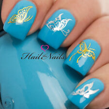 Butterfly Metallic Gold Silver Nail Stickers Water Transfers 3D Nails Art Y107