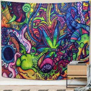 Psychedelic Tapestry Wall Hanging Indian Mandala Hippie Bedspread Throw Decor