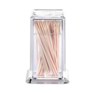 ACRYLIC PLASTIC CLEAR COCKTAIL STICK TOOTHPICK HOLDER SQUARE DESIGN PARTY FOOD