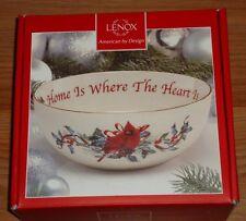 Lenox Winter Greetings Home Is Where the Heart Is Christmas Bowl w/Cardinal Box