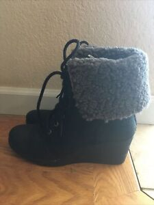 Womens UGG Wedge Heel Roll Top Leather Boots Size 8 Charcoal Gray Barely Worn!