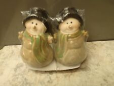 Rustic Country Brown Earthenware Pottery Snowman Couple Salt Pepper Shakers